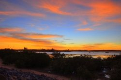 The sun sets over Finucane Island, Port Hedland, Western Australia